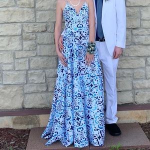 Muasic Print Prom Dress with Pockets